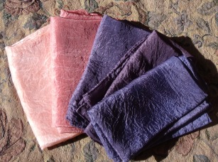 Silk scarves - madder for the first two, logwood for the three purple ones
