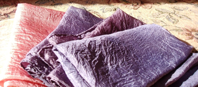 Silk scarves dyed with madder and logwood