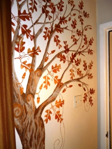 One of my wall trees, with oak leaf stencil designed and cut by me.  I've been developing my own style over the last few months!