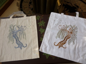 Moonwillow - one of my stencil designs, stencilled onto two plain cotton or calico bags in different colours.