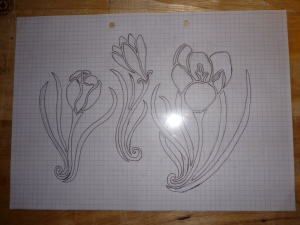 Crocuses stencil design on the cutting board