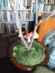 Fill the top of the pot with moss.  I added an artifical mushroom as well, because... well... mushroom! :D