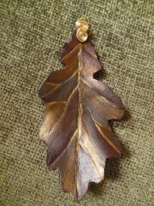Hand made leather oak leaf pendant