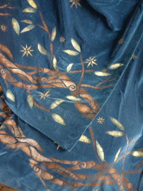 Midsummer Night curtains - dark blue velvet with branches, leaves and stars.