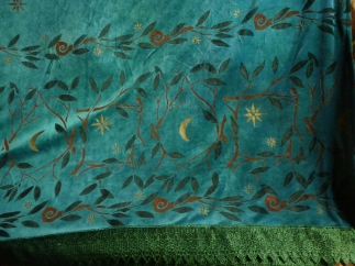 Close up of the stencilling on the Midsummer Night throw.